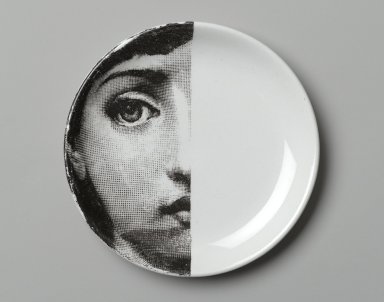 Piero Fornasetti (Italian, 1913-1988). <em>Plate, Theme and Variation</em>, ca. 1954. Glazed earthenware, 1/2 x 4 1/8 x 4 1/8 in. (1.3 x 10.5 x 10.5 cm). Brooklyn Museum, Gift of the Estate of Jane Adams Breed, 2005.37.7. Creative Commons-BY (Photo: Brooklyn Museum, 2005.37.7_PS2.jpg)