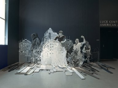 Swoon (American, born 1977). <em>Coney, Early Evening</em>, 2005. Linoleum print on mylar, mixed media, Variable dimensions, 18 pieces total. Brooklyn Museum, Healy Purchase Fund B, Emily Winthrop Miles Fund, and Designated Purchase Fund, 2005.41. © artist or artist's estate (Photo: Brooklyn Museum, 2005.41_front_PS2.jpg)