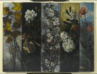 Elizabeth Boott Duveneck (American, 1846-1888). <em>Rhododendrons</em>, 1882. Oil on wood panel, Individual panel: 35 15/16 x 9 13/16 in. (91.3 x 24.9 cm). Brooklyn Museum, Gift of Joan Harmen Brown, Mr. and Mrs. William Slocum Davenport, Mrs. Lewis Francis, Samuel E. Haslett, William H. Herriman, Joseph Jefferson IV, Clifford L. Middleton, the New York City Police Department, Mrs. Charles D. Ruwe, Charles A. Schieren, the University Club, Mrs. Henry Wolf, Austin M. Wolf, and Hamilton A. Wolf, by exchange, Frank Sherman Benson Fund, Museum Collection Fund, Dick S. Ramsay Fund, Carll H. de Silver Fund, John B. Woodward Memorial Fund, and Designated Purchase Fund