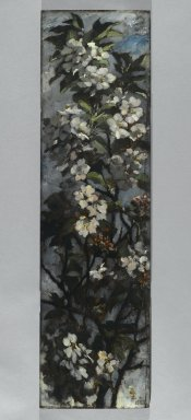Elizabeth Boott Duveneck (American, 1846-1888). <em>Apple Blossoms</em>, 1882. Oil on wood panel, Individual panel: 35 15/16 x 9 15/16 in. (91.3 x 25.2 cm). Brooklyn Museum, Gift of Joan Harmen Brown, Mr. and Mrs. William Slocum Davenport, Mrs. Lewis Francis, Samuel E. Haslett, William H. Herriman, Joseph Jefferson IV, Clifford L. Middleton, the New York City Police Department, Mrs. Charles D. Ruwe, Charles A. Schieren, the University Club, Mrs. Henry Wolf, Austin M. Wolf, and Hamilton A. Wolf, by exchange, Frank Sherman Benson Fund, Museum Collection Fund, Dick S. Ramsay Fund, Carll H. de Silver Fund, John B. Woodward Memorial Fund, and Designated Purchase Fund , 2005.54.3 (Photo: Brooklyn Museum, 2005.54.3_PS2.jpg)