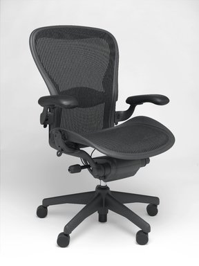 Don Chadwick (American, born 1936). <em>Aeron Chair</em>, designed 1994. Recycled aluminum, recycled polymer, 40 3/4 x 28 1/4 x 21 3/4 in. (103.5 x 71.8 x 55.2 cm). Brooklyn Museum, Gift of Herman Miller Inc., 2005.65. Creative Commons-BY (Photo: Brooklyn Museum, 2005.65_PS2.jpg)