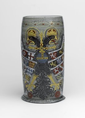 <em>Reichsadlerhumpen (Beaker)</em>, 17th century; later decoration. Enameled glass, 9 x 4 7/8 in.  (22.9 x 12.4 cm). Brooklyn Museum, Gift of Wunsch Foundation, Inc., 2005.66. Creative Commons-BY (Photo: Brooklyn Museum, 2005.66_PS1.jpg)