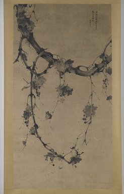 <em>Grapes</em>, 17th century. Hanging scroll, ink on paper, overall: 114 1/4 x 46 in. (290.2 x 116.8 cm). Brooklyn Museum, Gift of Sondra Castile and Takemitsu Oba in memory of Laurance Roberts and Isabel Roberts, both Directors of the Brooklyn Museum, 2005.76 (Photo: Brooklyn Museum, 2005.76_PS6.jpg)