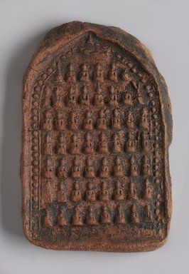 <em>Rows of Seated Buddhas</em>, 13th century. Molded red terracotta plaque, 5 1/2 x 3 1/2 in. (14 x 8.9 cm). Brooklyn Museum, Gift of Dr. Bertram H. Schaffner, 2005.78.13. Creative Commons-BY (Photo: Brooklyn Museum, 2005.78.13_PS11.jpg)