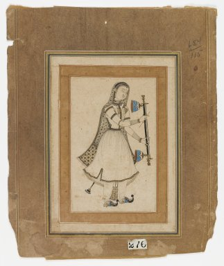 <em>Female Musician</em>, 17th century. Ink, opaque watercolors, and gold on paper, Sheet: 7 5/8 x 5 1/2 in.  (19.4 x 14.0 cm);. Brooklyn Museum, Gift of Dr. Bertram H. Schaffner, 2005.78.18 (Photo: Brooklyn Museum, 2005.78.18_IMLS_PS4.jpg)