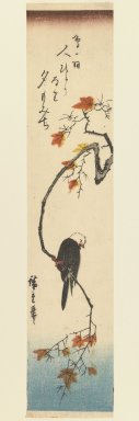 Utagawa Hiroshige (Ando) (Japanese, 1797-1858). <em>Bunting on a Maple Branch</em>, ca. 1840. Woodblock print, Image: 13 9/16 x 6 3/4 in. (34.5 x 17.2 cm). Brooklyn Museum, Gift of Dr. Eleanor Z. Wallace in memory of her husband, Dr. Stanley L. Wallace, 2005.79.6 (Photo: Brooklyn Museum, 2005.79.6_IMLS_PS3.jpg)