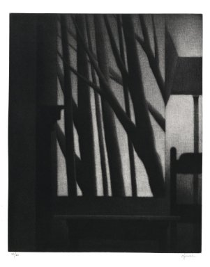 Robert Kipniss (American, born 1931). <em>Still life w/chair & standing lamp</em>. Mezzotint, Sheet: 16 x 13 1/2 in. (40.6 x 34.3 cm). Brooklyn Museum, Gift of James F. White, 2006.16.4. © artist or artist's estate (Photo: Brooklyn Museum, 2006.16.4_PS1.jpg)