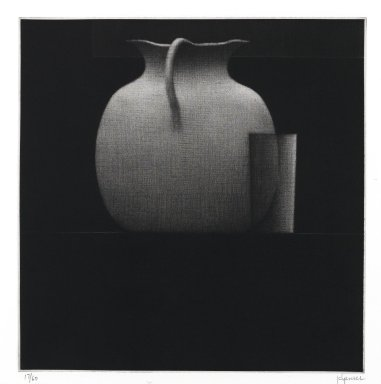 Robert Kipniss (American, born 1931). <em>Still life w/kettle & glass</em>, 2005. Mezzotint, Sheet: 15 x 13 in. (38.1 x 33 cm). Brooklyn Museum, Gift of James F. White, 2006.16.7. © artist or artist's estate (Photo: Brooklyn Museum, 2006.16.7_PS1.jpg)
