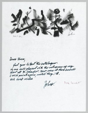 John von Wicht (American, born Germany, 1888-1970). <em>Letter with Drawing</em>, December 12, 1960., 8 1/2 x 11 in. (21.6 x 27.9 cm). Brooklyn Museum, Brooklyn Museum Collection, 2006.17.13 (Photo: Brooklyn Museum, 2006.17.13_PS2.jpg)