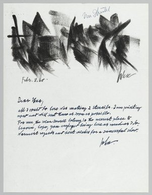 John von Wicht (American, born Germany, 1888-1970). <em>Letter with Drawing</em>, February 8, 1960., 8 1/2 x 11 in. (21.6 x 27.9 cm). Brooklyn Museum, Brooklyn Museum Collection, 2006.17.14 (Photo: Brooklyn Museum, 2006.17.14_PS2.jpg)