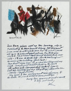 John von Wicht (American, born Germany, 1888-1970). <em>Letter with Drawing</em>, March 3, 1959., 8 1/2 x 11 in. (21.6 x 27.9 cm). Brooklyn Museum, Brooklyn Museum Collection, 2006.17.15 (Photo: Brooklyn Museum, 2006.17.15_PS2.jpg)
