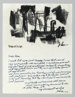 John von Wicht (American, born Germany, 1888-1970). <em>Letter with Drawing</em>, 1956., 8 1/2 x 11 in. (21.6 x 27.9 cm). Brooklyn Museum, Brooklyn Museum Collection, 2006.17.16 (Photo: Brooklyn Museum, 2006.17.16_PS2.jpg)