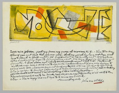 John von Wicht (American, born Germany, 1888-1970). <em>Letter with Drawing</em>, 1951., 8 1/2 x 11 in. (21.6 x 27.9 cm). Brooklyn Museum, Brooklyn Museum Collection, 2006.17.17 (Photo: Brooklyn Museum, 2006.17.17_PS2.jpg)