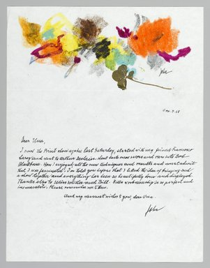 John von Wicht (American, born Germany, 1888-1970). <em>Letter with Drawing</em>, 1968., 8 1/2 x 11 in. (21.6 x 27.9 cm). Brooklyn Museum, Brooklyn Museum Collection, 2006.17.1 (Photo: Brooklyn Museum, 2006.17.1_PS2.jpg)