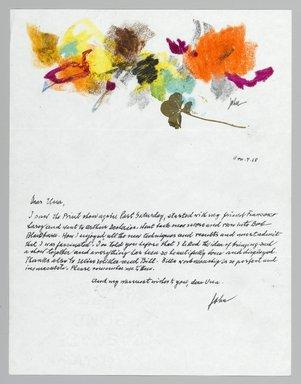 John von Wicht (American, born Germany, 1888-1970). <em>Letter with Drawing</em>, 1968., 8 1/2 x 11 in. (21.6 x 27.9 cm). Brooklyn Museum, Brooklyn Museum Collection, 2006.17.1 (Photo: Brooklyn Museum, 2006.17.1_PS2.jpg)