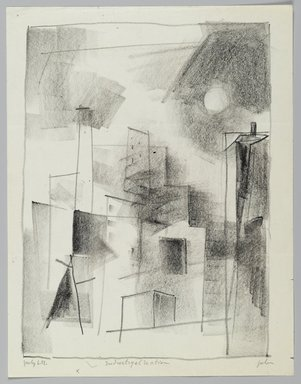 John von Wicht (American, born Germany, 1888-1970). <em>Drawing, 'Industrial Section'</em>, 1951., 8 1/2 x 11 in. (21.6 x 27.9 cm). Brooklyn Museum, Brooklyn Museum Collection, 2006.17.20 (Photo: Brooklyn Museum, 2006.17.20_PS2.jpg)