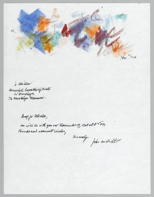 John von Wicht (American, born Germany, 1888-1970). <em>Letter with Drawing</em>, November 16, 1968., 8 1/2 x 11 in. (21.6 x 27.9 cm). Brooklyn Museum, Brooklyn Museum Collection, 2006.17.2 (Photo: Brooklyn Museum, 2006.17.2_PS2.jpg)