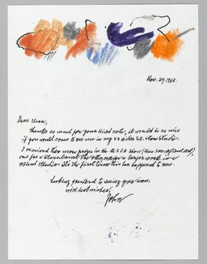 John von Wicht (American, born Germany, 1888-1970). <em>Letter with Drawing</em>, November 29, 1968., 6 x 8 in. (15.2 x 20.3 cm). Brooklyn Museum, Brooklyn Museum Collection, 2006.17.3 (Photo: Brooklyn Museum, 2006.17.3_PS2.jpg)