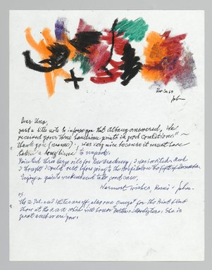 John von Wicht (American, born Germany, 1888-1970). <em>Letter with Drawing</em>, November 30, 1967., 8 1/2 x 11 in. (21.6 x 27.9 cm). Brooklyn Museum, Brooklyn Museum Collection, 2006.17.4 (Photo: Brooklyn Museum, 2006.17.4_PS2.jpg)
