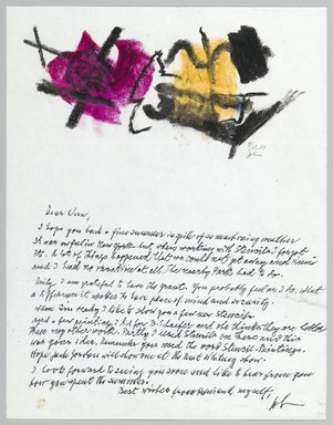 John von Wicht (American, born Germany, 1888-1970). <em>Letter with Drawing</em>, September 12, 1967., 8 1/2 x 11 in. (21.6 x 27.9 cm). Brooklyn Museum, Brooklyn Museum Collection, 2006.17.6 (Photo: Brooklyn Museum, 2006.17.6_PS2.jpg)