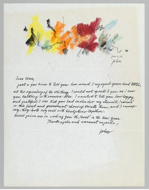 John von Wicht (American, born Germany, 1888-1970). <em>Letter with Drawing</em>, January 12, 1967., 8 1/2 x 11 in. (21.6 x 27.9 cm). Brooklyn Museum, Brooklyn Museum Collection, 2006.17.7 (Photo: Brooklyn Museum, 2006.17.7_PS2.jpg)