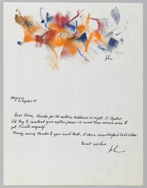 John von Wicht (American, born Germany, 1888-1970). <em>Letter with Drawing</em>, May 31, 1966., 8 1/2 x 11 in. (21.6 x 27.9 cm). Brooklyn Museum, Brooklyn Museum Collection, 2006.17.8 (Photo: Brooklyn Museum, 2006.17.8_PS2.jpg)