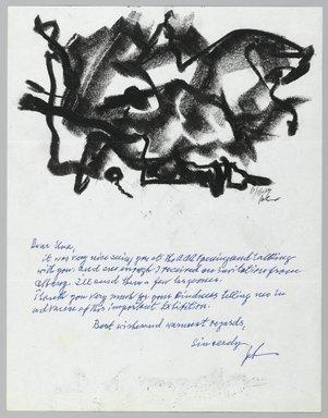 John von Wicht (American, born Germany, 1888-1970). <em>Letter with Drawing</em>, November 11, 1964., 8 1/2 x 11 in. (21.6 x 27.9 cm). Brooklyn Museum, Brooklyn Museum Collection, 2006.17.9 (Photo: Brooklyn Museum, 2006.17.9_PS2.jpg)