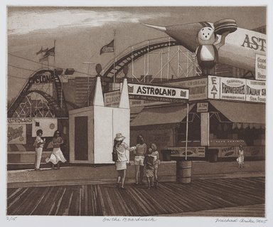 Michael Whitaker Arike (American). <em>On the Boardwalk</em>, 2005. Etching, 17 x 15 in. (43.2 x 38.1 cm). Brooklyn Museum, Gift of Stephen A. Fredericks, 2006.30.1. © artist or artist's estate (Photo: Brooklyn Museum, 2006.30.1_PS9.jpg)
