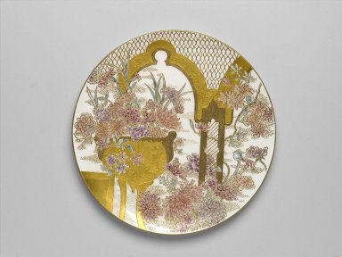 James Callowhill (English, 1838-1913, active United States, ca. 1885-1913). <em>Plaque</em>, ca. 1887-1888. Porcelain, H: 1 in.; Diam: 10 5/8 in. (27 cm). Brooklyn Museum, Brooklyn Museum Collection, 2006.6.1. Creative Commons-BY (Photo: Brooklyn Museum, 2006.6.1_PS1.jpg)