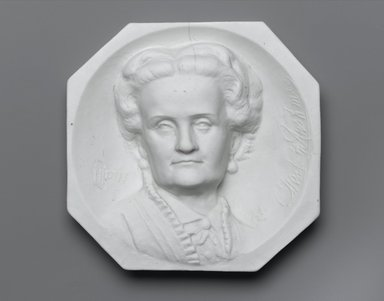 Karl L. H. Mueller (American, born Germany, 1820-1887). <em>Plaque, Portrait of Charlotte Cushman</em>, ca. 1876. Unglazed porcelain, 5 3/4 x 5 7/8 x 1 1/2 in. (14.6 x 14.9 x 3.8 cm). Brooklyn Museum, Gift of Joseph F. McCrindle, by exchange, 2006.6.2. Creative Commons-BY (Photo: Brooklyn Museum, 2006.6.2_PS1.jpg)