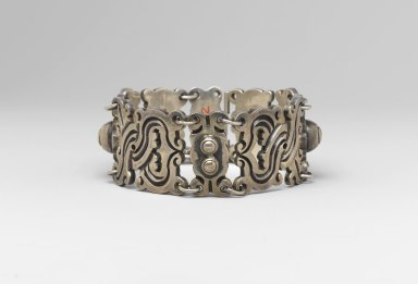 William Spratling (American, 1900-1967). <em>Bracelet</em>, ca. 1935-1940. Silver, 1 1/8 x 7 3/4 in. (2.9 x 19.7 cm). Brooklyn Museum, Gift of Dr. Martin R. and Eve Lebowitz in memory of his parents, Henry and Esther Lebowitz, 2006.7.2. Creative Commons-BY (Photo: Brooklyn Museum, 2006.7.2_PS2.jpg)