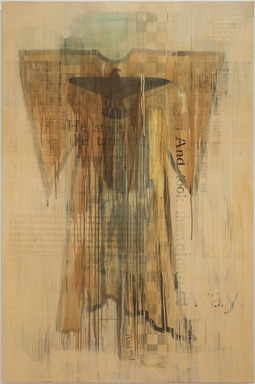 Jaune Quick-to-See Smith (Flathead, born 1940). <em>Ghost Dance Dress</em>, 2000. Oil, collage and mixed media on canvas, 72 x 48 in. (182.9 x 121.9 cm). Brooklyn Museum, Gift of Dorothee Peiper-Riegraf in honor of Jaune Quick-to-See Smith and Arlene LewAllen (1941-2002), 2006.79. © artist or artist's estate (Photo: , 2006.79_PS11.jpg)