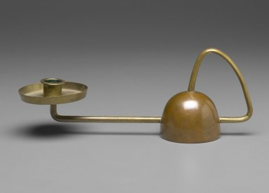 CDE. <em>Candlestick</em>, ca. 1910. Brass, 3 3/4 x 10 x 2 7/8 in. (9.5 x 25.4 x 7.3 cm). Brooklyn Museum, Gift of Mark McDonald in honor of Stuyvasent McReswick, 2006.8. Creative Commons-BY (Photo: Brooklyn Museum, 2006.8_PS2.jpg)