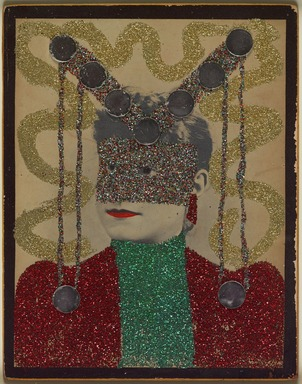 May Wilson (American, 1905-1986). <em>Untitled I (Portrait)</em>, 1966-1967. Albumen photograph with glitter and mirrors and red paint, Overall: 13 1/2 x 10 3/4 in. (34.3 x 27.3 cm). Brooklyn Museum, Emily Winthrop Miles Fund, 2007.11.1. © artist or artist's estate (Photo: , 2007.11.1_PS9.jpg)