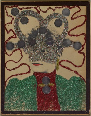 May Wilson (American, 1905-1986). <em>Untitled II (Portrait)</em>, 1966-1967. Albumen photograph with glitter, round mirrors and red paint., mount: 10 3/4 × 13 7/8 in. (27.3 × 35.2 cm). Brooklyn Museum, Emily Winthrop Miles Fund, 2007.11.2. © artist or artist's estate (Photo: , 2007.11.2_PS9.jpg)