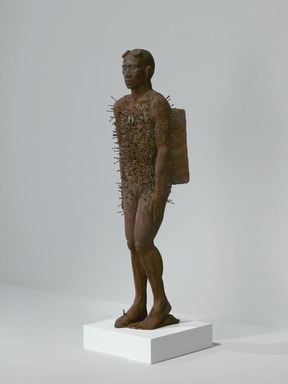 Michael Richards (American, 1963-2001). <em>[Untitled] (Free F'All)</em>, 1997. Fiberglass and resin with iron oxide, 72 x 24 x 19 in. (182.9 x 61 x 48.3 cm). Brooklyn Museum, Anonymous gift in honor of Michael Richards, 2007.20. © artist or artist's estate (Photo: Brooklyn Museum, 2007.20_three_quarter_left_PS2.jpg)