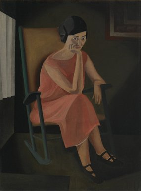 George Copeland Ault (American, 1891-1948). <em>Miss Whiting</em>, 1923. Oil on canvas, sight: 23 1/2 x 17 1/2 in. (59.7 x 44.5 cm). Brooklyn Museum, Gift of Manhattan Art Investments, LP, 2007.29 (Photo: Brooklyn Museum, 2007.29_PS2.jpg)