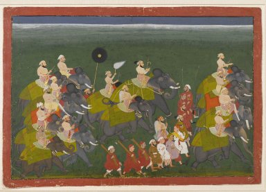 <em>Maharana Sangram Singh of Mewar Riding in an Elephant Procession</em>, ca. 1730-40. Opaque watercolor and gold on paper, 13 7/8 x 19 13/16 in. (35.2 x 50.3 cm). Brooklyn Museum, Gift of Dr. Bertram H. Schaffner, 2007.30 (Photo: Brooklyn Museum, 2007.30_PS2.jpg)