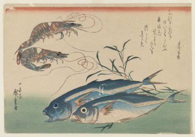 Utagawa Hiroshige (Ando) (Japanese, 1797-1858). <em>Horse Mackerel, Freshwater Prawns, and Seaweed, from an untitled series known as Selection of Fish</em>, ca. 1832-1833. Color woodblock print on paper, 10 1/4 x 14 5/8 in. (26 x 37.1 cm). Brooklyn Museum, Bequest of Dr. Eleanor Z. Wallace, 2007.31.11 (Photo: Brooklyn Museum, 2007.31.11_IMLS_PS3.jpg)