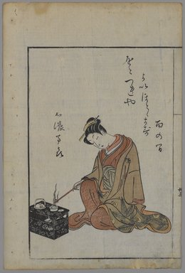 Suzuki Harunobu (Japanese, 1724-1770). <em>Seated Beauty</em>. Woodblock color print, Other (Left print, sight): 8 7/8 x 6 1/8 in. (22.5 x 15.6 cm). Brooklyn Museum, Bequest of Dr. Eleanor Z. Wallace, 2007.31.3 (Photo: Brooklyn Museum, 2007.31.3_PS4.jpg)