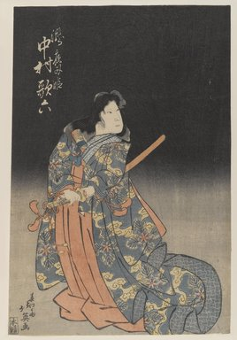 Unknown. <em>Theatrical Male Character with Sword</em>. Woodblock color print, mat: 13 7/16 x 9 1/16 in. (34.1 x 23 cm). Brooklyn Museum, Bequest of Dr. Eleanor Z. Wallace, 2007.31.9 (Photo: Brooklyn Museum, 2007.31.9_PS4.jpg)