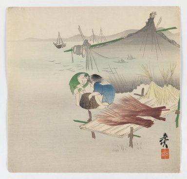 Shibata Zeshin (Japanese, 1807-1891). <em>Children Playing by the Sea</em>, ca. 1880. Woodblock color print, 9 1/2 x 9 13/16 in. (24.1 x 24.9 cm). Brooklyn Museum, Gift of the Estate of Dr. Eleanor Z. Wallace, 2007.32.100 (Photo: Brooklyn Museum, 2007.32.100_IMLS_PS3.jpg)
