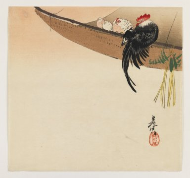 Shibata Zeshin (Japanese, 1807-1891). <em>Rooster, Hen, and Chicks Perched on Screen</em>, ca. 1880. Color woodblock print on paper, 9 3/8 x 9 7/8 in. (23.8 x 25.1 cm). Brooklyn Museum, Gift of the Estate of Dr. Eleanor Z. Wallace, 2007.32.103 (Photo: Brooklyn Museum, 2007.32.103_IMLS_PS3.jpg)