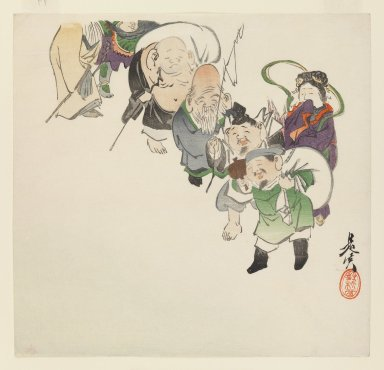 Shibata Zeshin (Japanese, 1807-1891). <em>Seven Gods of Good Luck</em>, ca. 1885. Woodblock color print, 9 1/2 x 9 7/8 in. (24.1 x 25.1 cm). Brooklyn Museum, Gift of the Estate of Dr. Eleanor Z. Wallace, 2007.32.104 (Photo: Brooklyn Museum, 2007.32.104_IMLS_PS3.jpg)