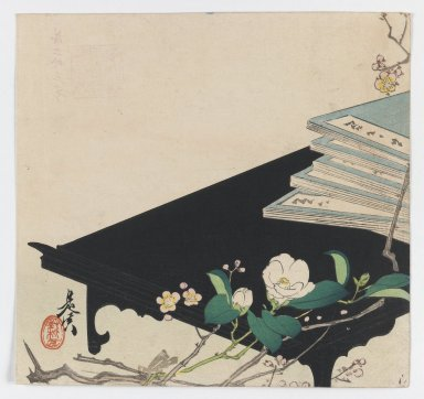 Shibata Zeshin (Japanese, 1807-1891). <em>Camellia and Books on Low Black Table</em>, ca. 1885. Woodblock color print, 9 x 9 9/16 in. (22.9 x 24.3 cm). Brooklyn Museum, Gift of the Estate of Dr. Eleanor Z. Wallace, 2007.32.105 (Photo: Brooklyn Museum, 2007.32.105_IMLS_PS3.jpg)