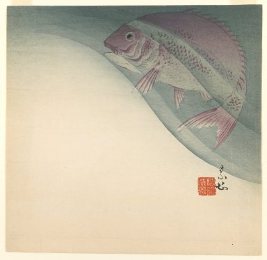 Suian Hirafuku (Japanese, 1844-1890). <em>Fish in Water</em>, ca. 1885. Woodblock color print, 9 9/16 x 9 7/8 in. (24.3 x 25.1 cm). Brooklyn Museum, Gift of the Estate of Dr. Eleanor Z. Wallace, 2007.32.109 (Photo: Brooklyn Museum, 2007.32.109_IMLS_PS3.jpg)