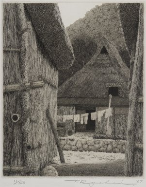 Tanaka Ryohei (Japanese, born 1933). <em>Village Scene</em>, 1967. Etching, Sheet: 11 5/8 x 9 3/16 in. (29.5 x 23.3 cm). Brooklyn Museum, Gift of the Estate of Dr. Eleanor Z. Wallace, 2007.32.112. © artist or artist's estate (Photo: Brooklyn Museum, 2007.32.112_IMLS_PS4.jpg)
