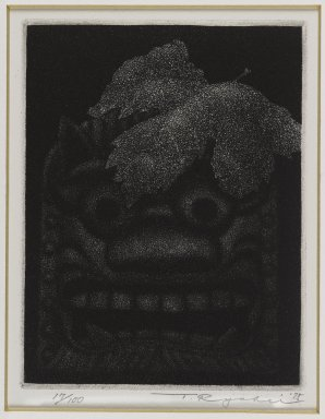 Tanaka Ryohei (Japanese, born 1933). <em>Roof Tile, No. 2</em>, 1975. Etching, aquatint, Sheet: 10 x 8 3/8 in. (25.4 x 21.3 cm). Brooklyn Museum, Gift of the Estate of Dr. Eleanor Z. Wallace, 2007.32.113. © artist or artist's estate (Photo: Brooklyn Museum, 2007.32.113_IMLS_PS4.jpg)