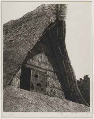 Tanaka Ryohei (Japanese, born 1933). <em>Roof of Hida</em>, 1973. Etching, Sheet: 15 1/4 x 11 7/16 in. (38.7 x 29.1 cm). Brooklyn Museum, Gift of the Estate of Dr. Eleanor Z. Wallace, 2007.32.114. © artist or artist's estate (Photo: Brooklyn Museum, 2007.32.114_IMLS_PS4.jpg)