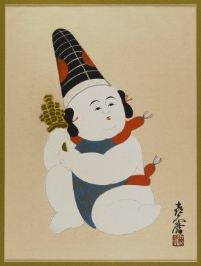 Unknown. <em>Doll from Izukura</em>, 1933. Color woodblock print with gold on paper, 16 1/2 x 13 in. (41.9 x 33 cm). Brooklyn Museum, Gift of the Estate of Dr. Eleanor Z. Wallace, 2007.32.120 (Photo: Brooklyn Museum, 2007.32.120_IMLS_PS4.jpg)